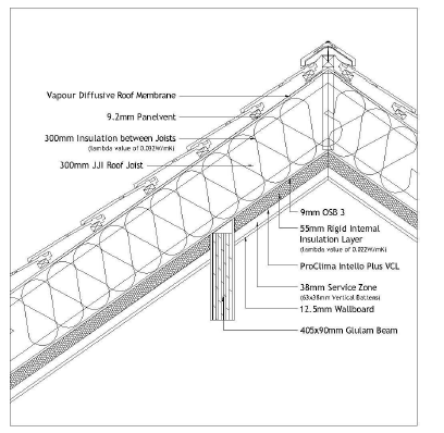 Figure 5: Details of the roof ridge junction (credit White Hill Design Studio)
